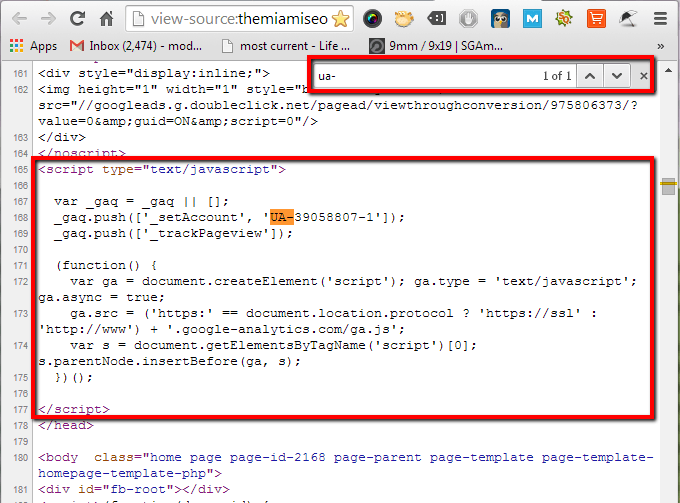 Example of what a Google Analytics tracking code looks like
